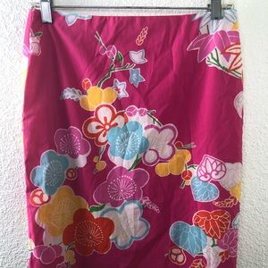 Esprit Women's Pink Yellow Floral Skirt Size 3/4